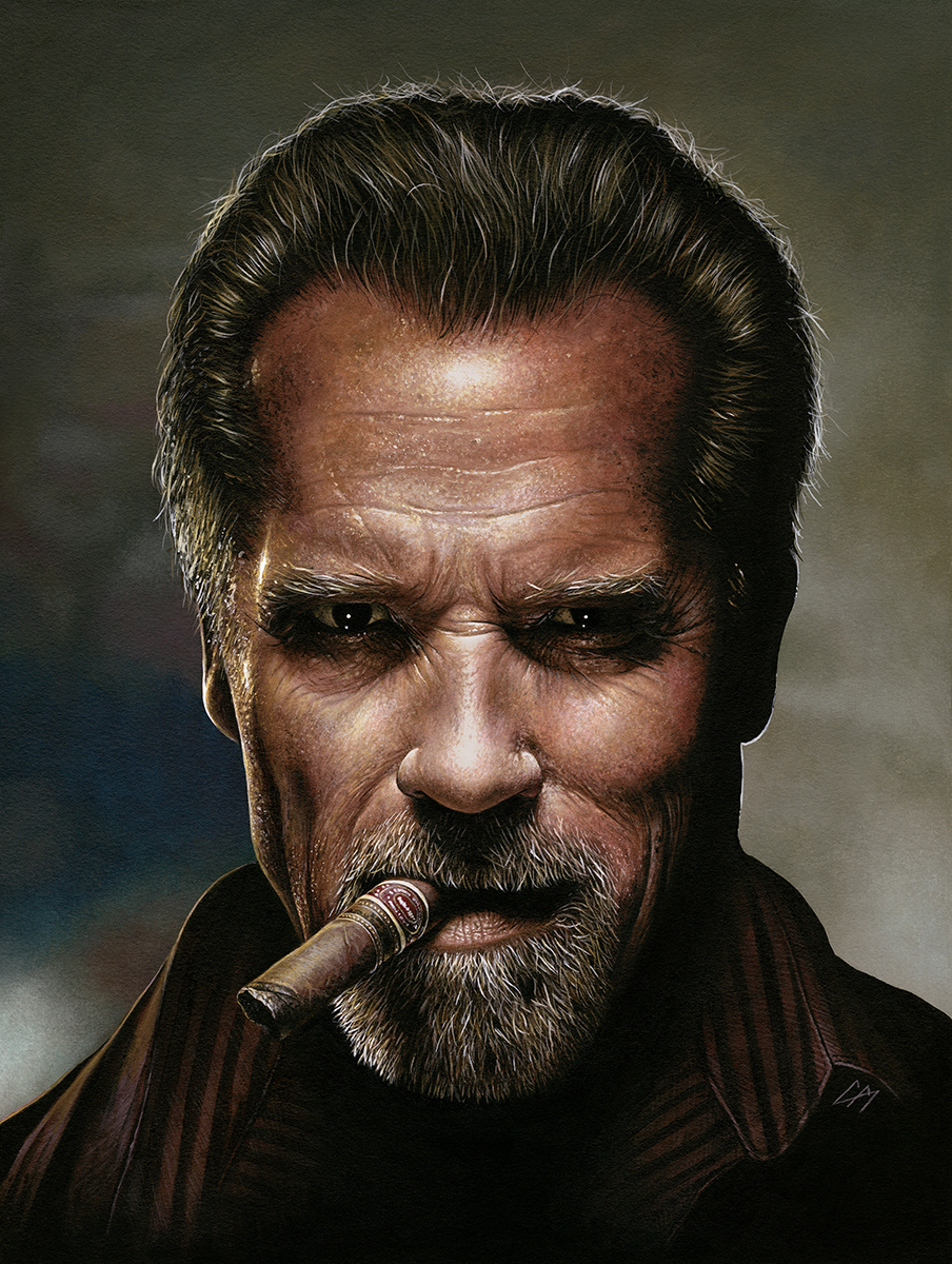 A painted portrait done for An Evening With Arnold Schwarzenegger. This was signed by the man himself and auctioned off on the night. Medium: Acrylic paints on art board. By Craig Mackay.