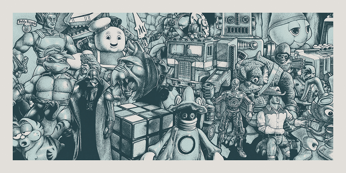 'Back To The 80s'. Medium: Pen and Ink on paper and digital. By Craig Mackay.