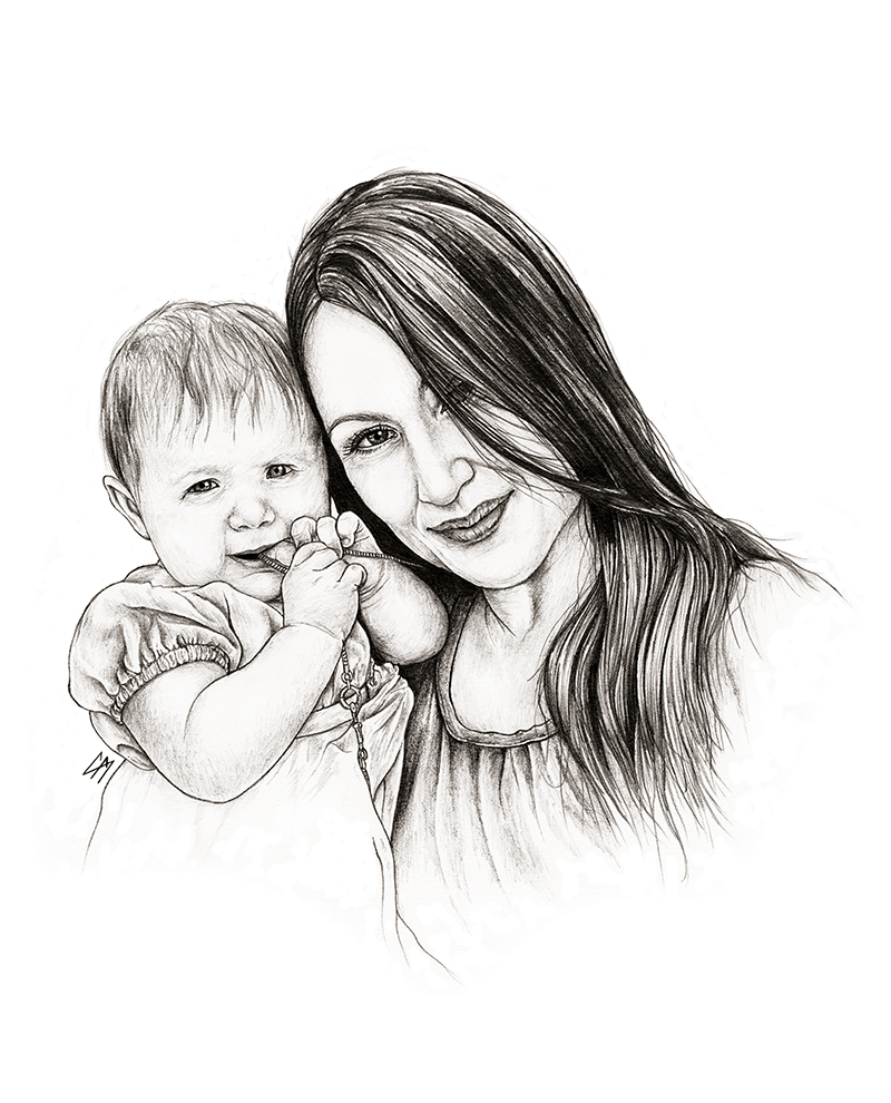 Commissioned portrait work. Medium: Graphite pencil on paper. By Craig Mackay.
