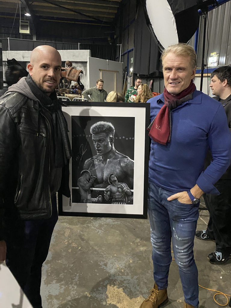 Portrait of Ivan Drago (Dolph Lundgren) from the movie 'Rocky IV'. This was signed by Dolph and sold off at 'For The Love Of Sci-Fi'. Medium: Acrylic paints on art board. Prints available to buy at www.etsy.com/uk/shop/CraigMackayDesign. By Craig Mackay.