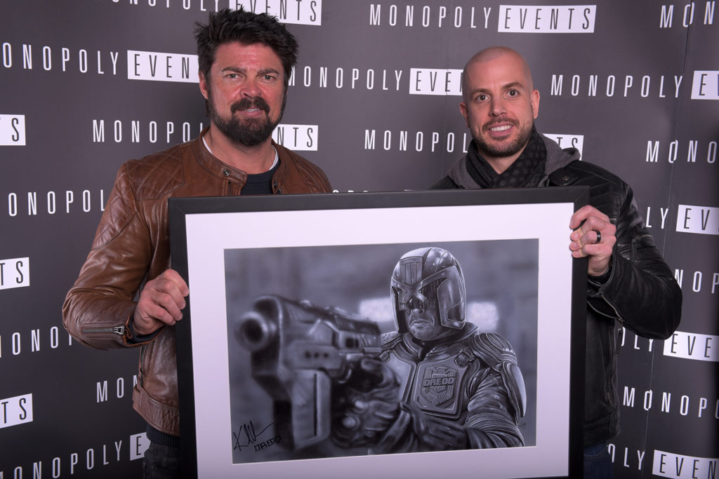 Portrait of Karl Urban, signed and sold by Monopoly Events. Medium: Acrylic paints on art board. Prints available to buy at www.etsy.com/uk/shop/CraigMackayDesign. By Craig Mackay.