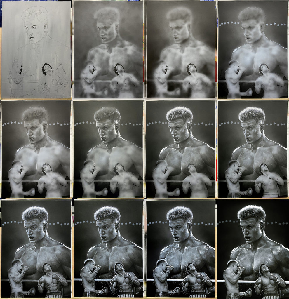 Progress sequence of my portrait of Ivan Drago (Dolph Lundgren) from the movie 'Rocky IV'. This was signed by Dolph and sold off at 'For The Love Of Sci-Fi'. Medium: Acrylic paints on art board. Prints available to buy at www.etsy.com/uk/shop/CraigMackayDesign. By Craig Mackay.