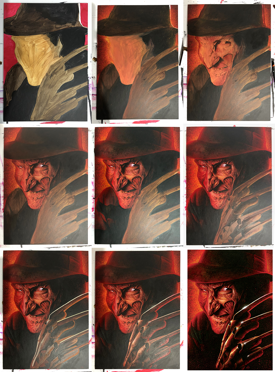 Progress sequence of the painted portrait done for Showmasters. This was signed by Robert Englund (aka Freddy) and auctioned off. Medium: Acrylic paints on art board. By Craig Mackay.