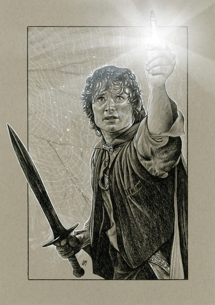 Lord Of The Rings portrait done for Elijah Wood and sold through Monopoly Events. Medium: Prismacolor pencils on coloured paper. Prints available to buy at www.etsy.com/uk/shop/CraigMackayDesign. By Craig Mackay.