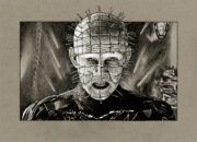 Film sketch of a scene from 'Hellraiser'. Medium: Prismacolor and Faber Castell Polychromos pencils on coloured paper. Prints available to buy at www.etsy.com/uk/shop/CraigMackayDesign. By Craig Mackay.