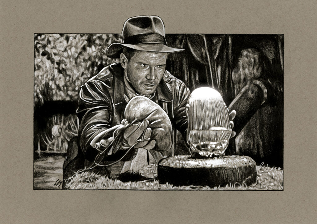 Film sketch of a scene from 'Indiana Jones And The Raiders Of The Lost Ark'. Medium: Prismacolor and Faber Castell Polychromos pencils on coloured paper. Prints available to buy at www.etsy.com/uk/shop/CraigMackayDesign. By Craig Mackay.