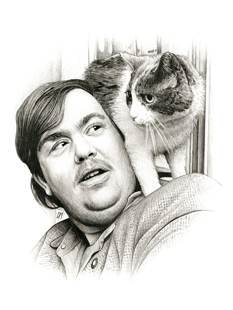 John Candy sketch for the book 'Searching for Candy'. Medium: Graphite pencil on paper.