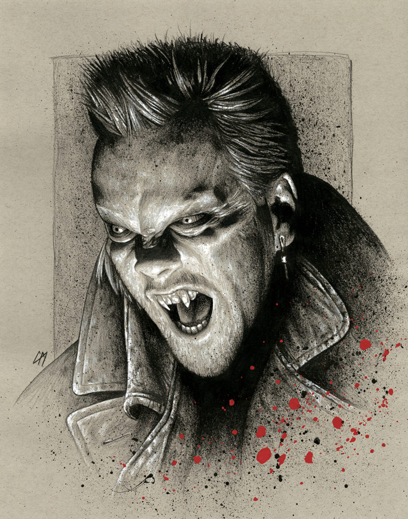 Lost Boys portrait done for Kiefer Sutherland. Medium: Prismacolor pencils on coloured paper. Prints available to buy at www.etsy.com/uk/shop/CraigMackayDesign. By Craig Mackay.