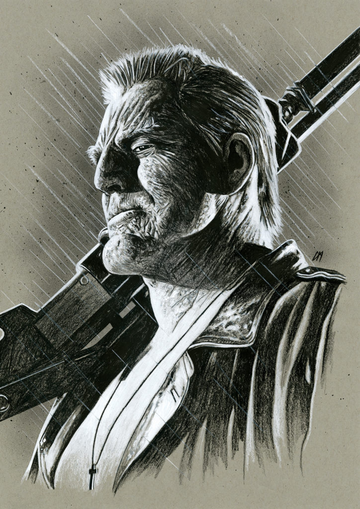 Sin City portrait. Medium: Prismacolor pencils on coloured paper. Prints available to buy at www.etsy.com/uk/shop/CraigMackayDesign.