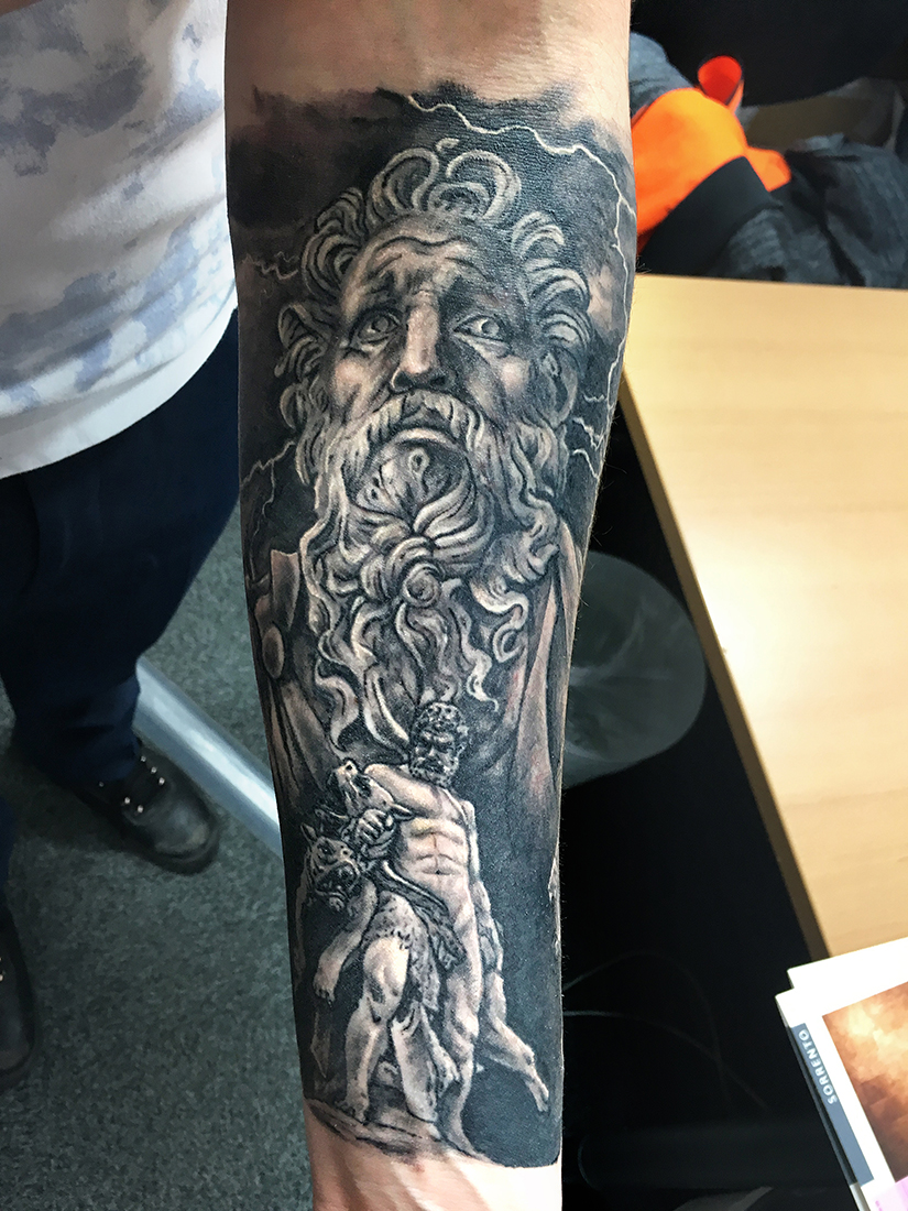 Healed Greek Mythology sleeve. Tattoos by Craig Mackay.
