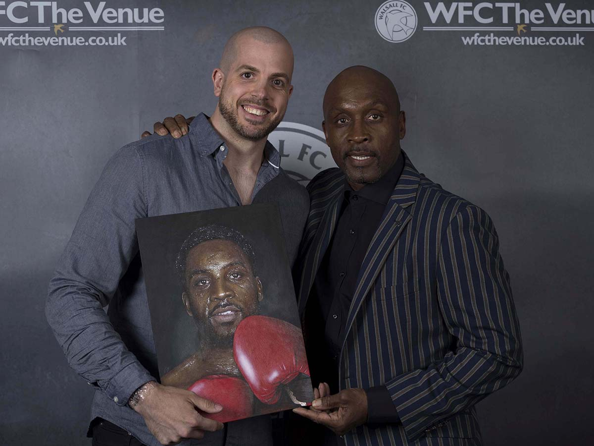 Here is a painted portrait I recently did of Nigel Benn for an evening with Nigel Benn at Walsall Football club. This was signed by the man himself and auctioned off on the night. Medium: Acrylics on art board. Thanks to Carol Bailey photography for the photo. By Craig Mackay.
