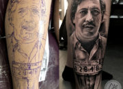 Pablo Escobar. Tattoos by Craig Mackay.