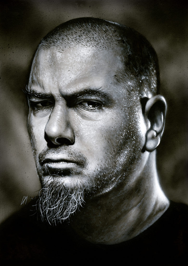 Portrait of Pantera/Down frontman Phil Anselmo. Medium: Acrylic paints on art board. Prints available to buy at www.etsy.com/uk/shop/CraigMackayDesign. By Craig Mackay.