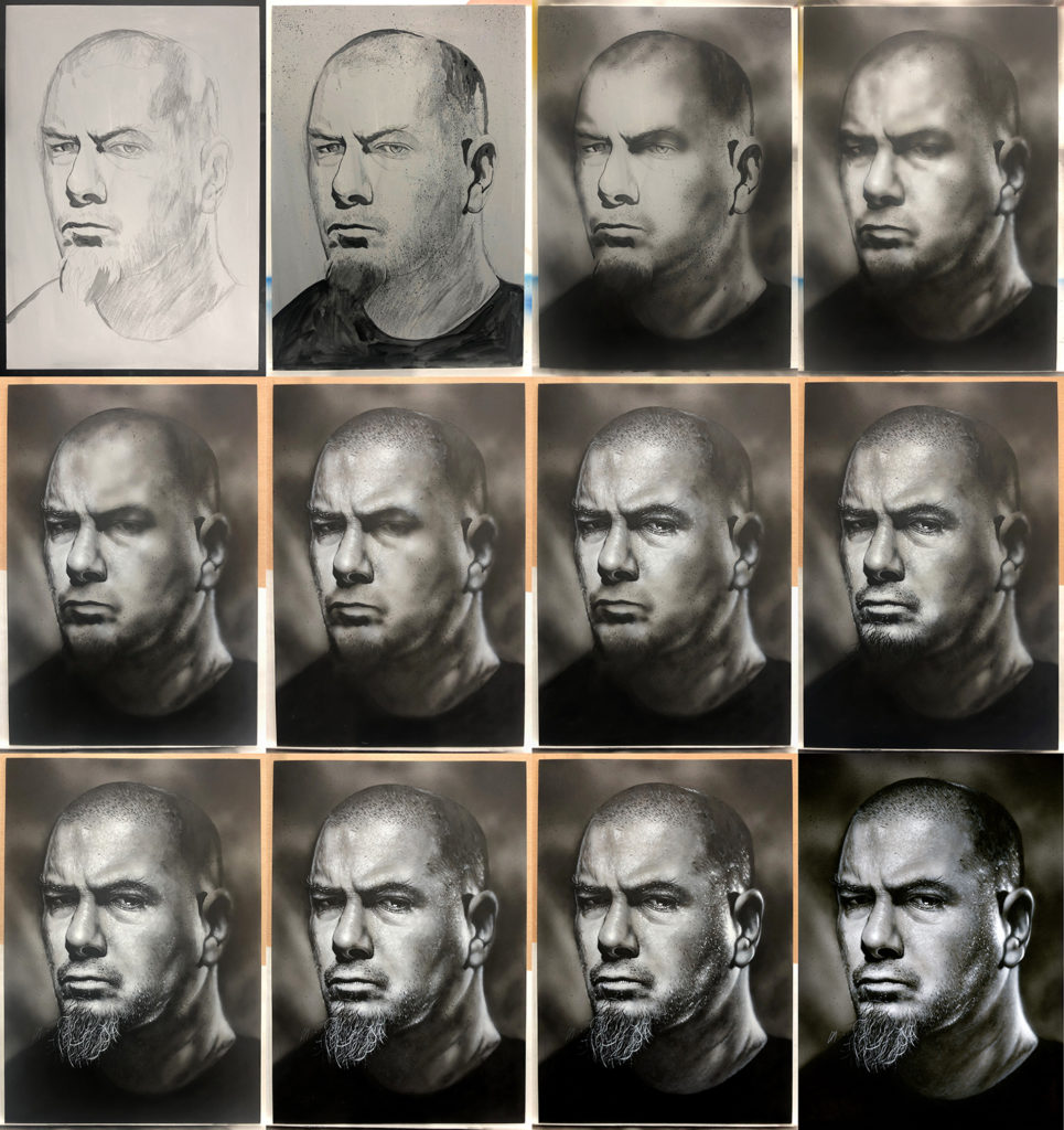 Progress of the portrait of Pantera/Down frontman Phil Anselmo. Medium: Acrylic paints on art board. Prints available to buy at www.etsy.com/uk/shop/CraigMackayDesign. By Craig Mackay.