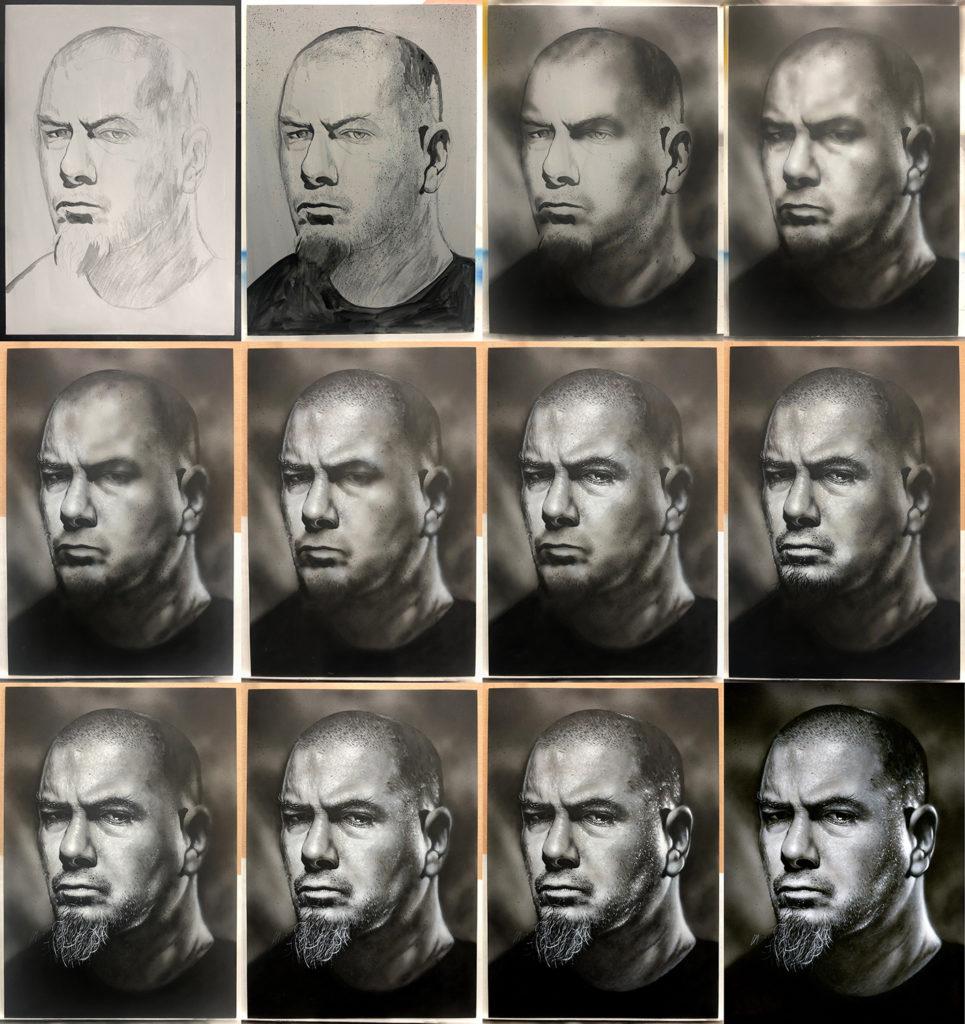Progress of the portrait of Pantera/Down frontman Phil Anselmo. Medium: Acrylic paints on art board. Prints available to buy at www.etsy.com/uk/shop/CraigMackayDesign. By Craig Mackay.