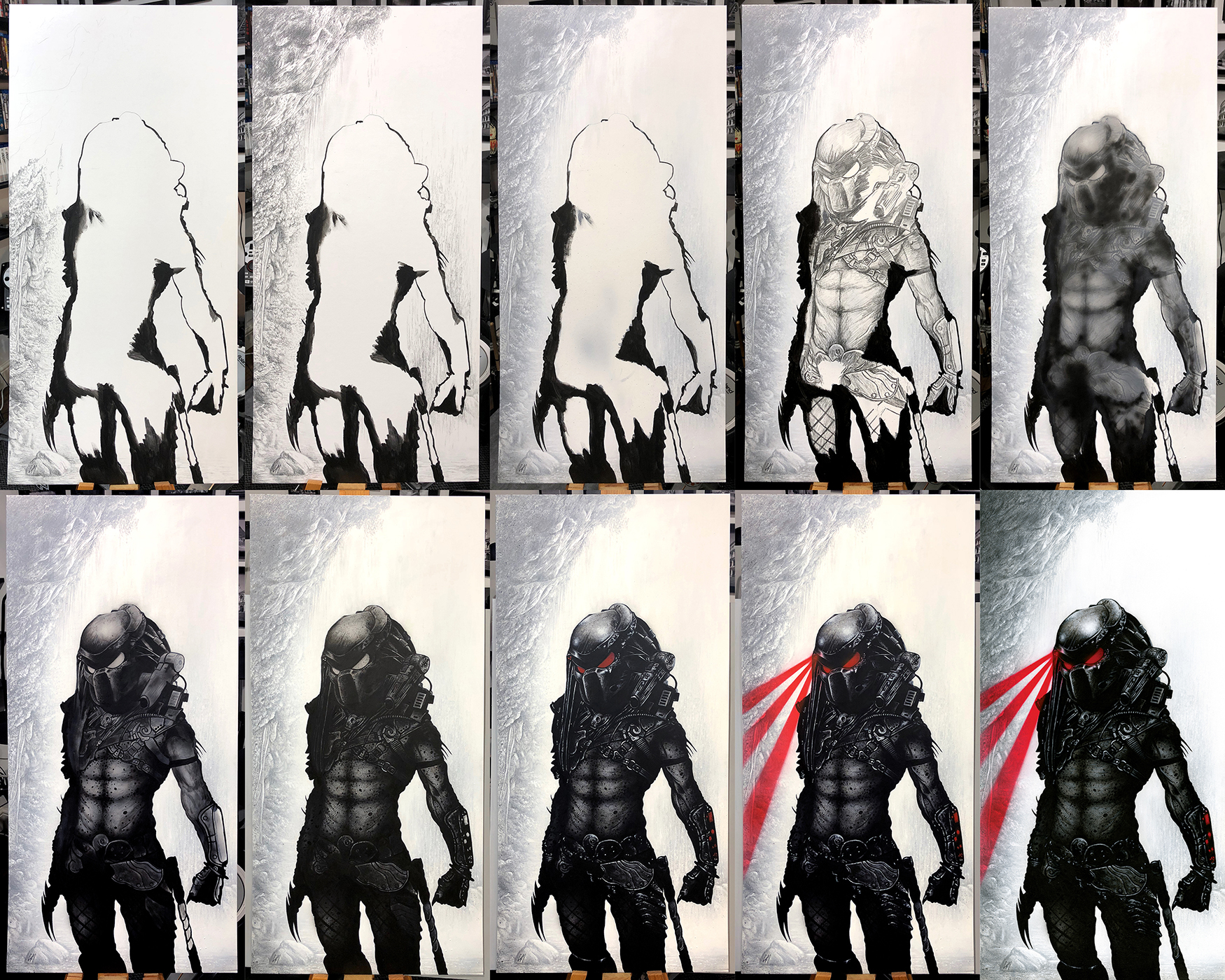 Progress sequence of 'If It Bleeds, We Can Kill It'. Medium: Acrylic paints on art board. Painted portrait done for 'For The Love Of Sci-Fi' and the cast of Predator.