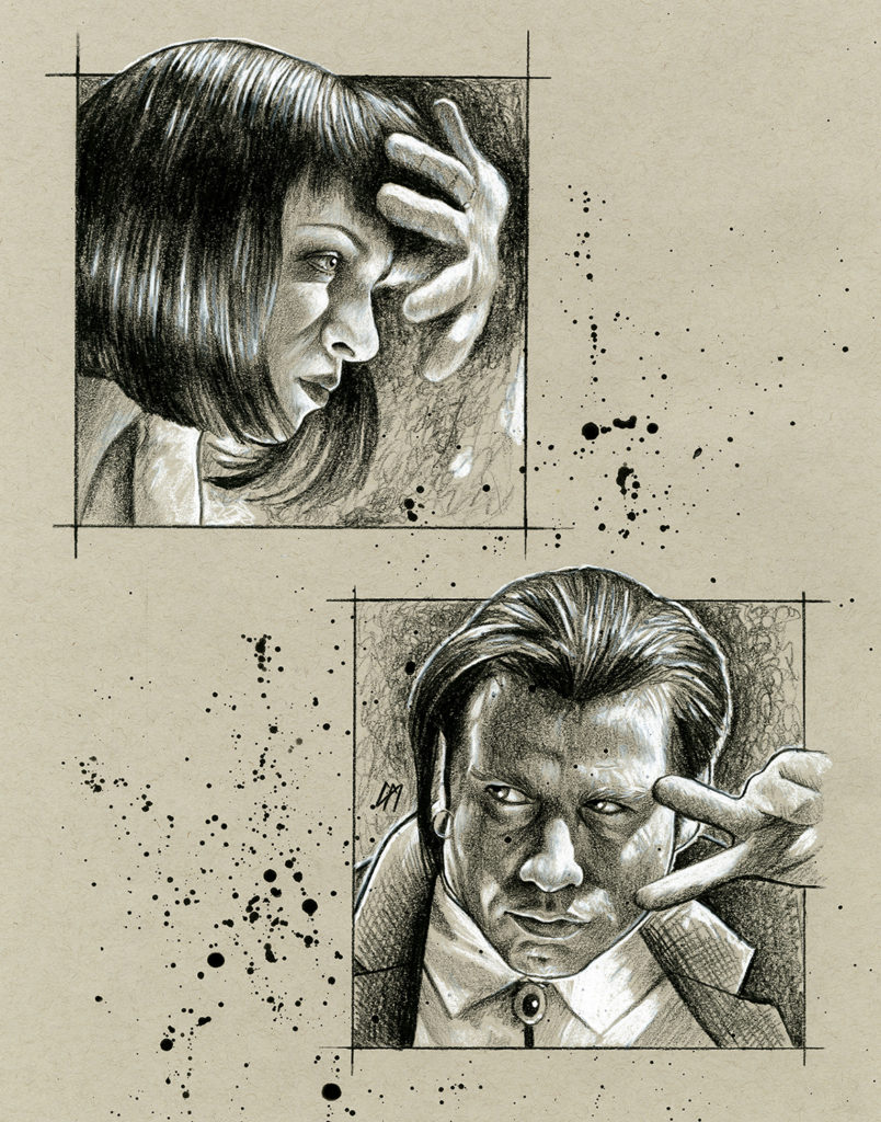 Portrait sketch of the Dancing scene in Pulp Fiction. Medium: Prismacolor pencils on coloured paper. Prints available to buy at www.etsy.com/uk/shop/CraigMackayDesign. By Craig Mackay.