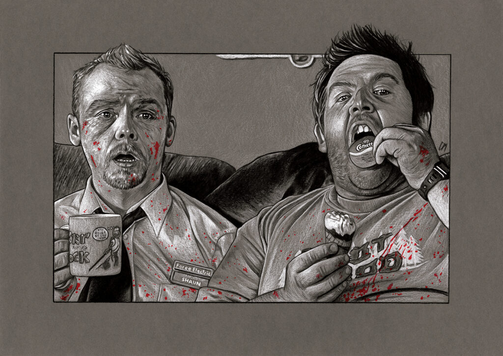 Film sketch of a scene from 'Shaun Of The Dead'. Medium: Prismacolor and Faber Castell Polychromos pencils on coloured paper. Prints available to buy at www.etsy.com/uk/shop/CraigMackayDesign. By Craig Mackay.