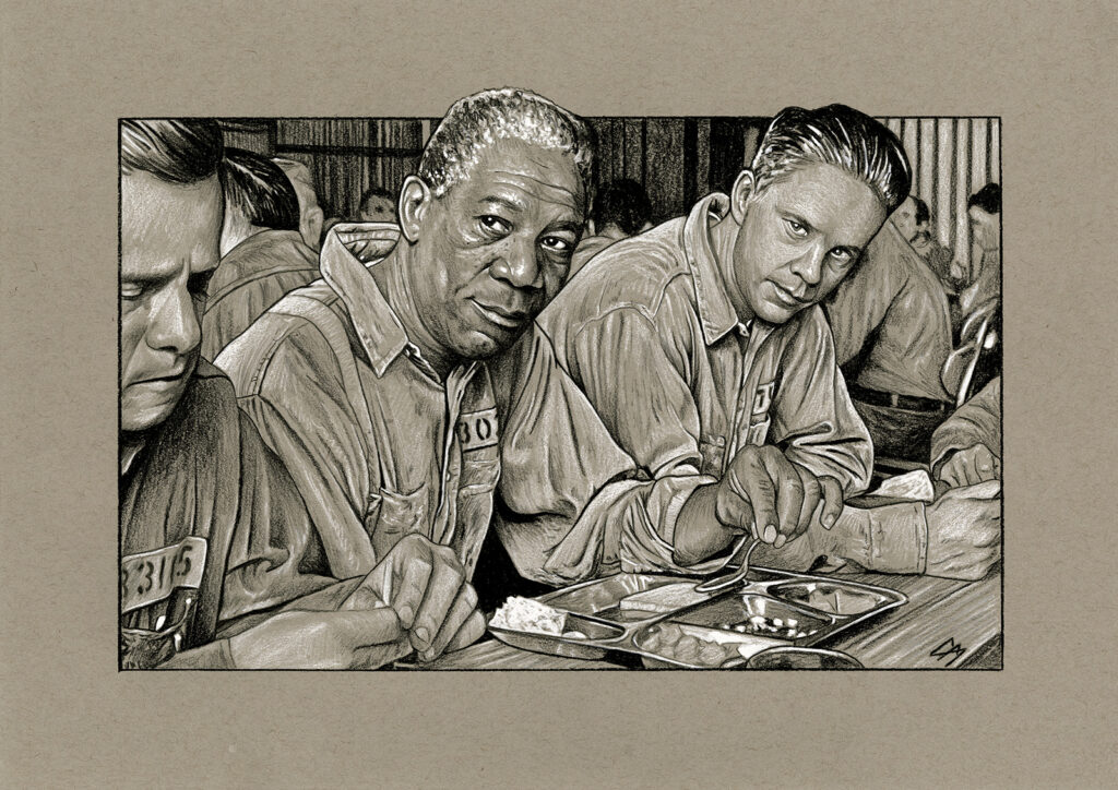 Film sketch of a scene from 'The Shawshank Redemption'. Medium: Prismacolor pencils on coloured paper. Prints available to buy at www.etsy.com/uk/shop/CraigMackayDesign. By Craig Mackay.