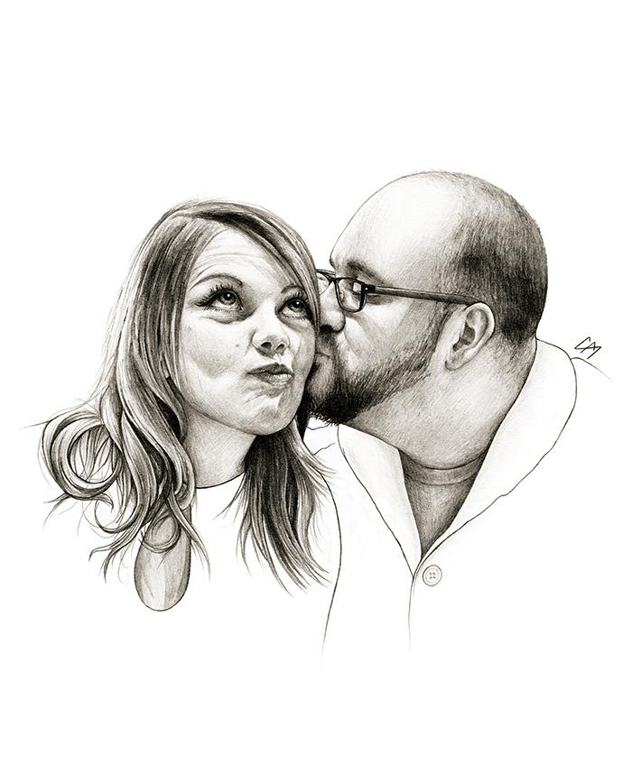 Commissioned portrait work. Medium: Graphite pencil on paper.