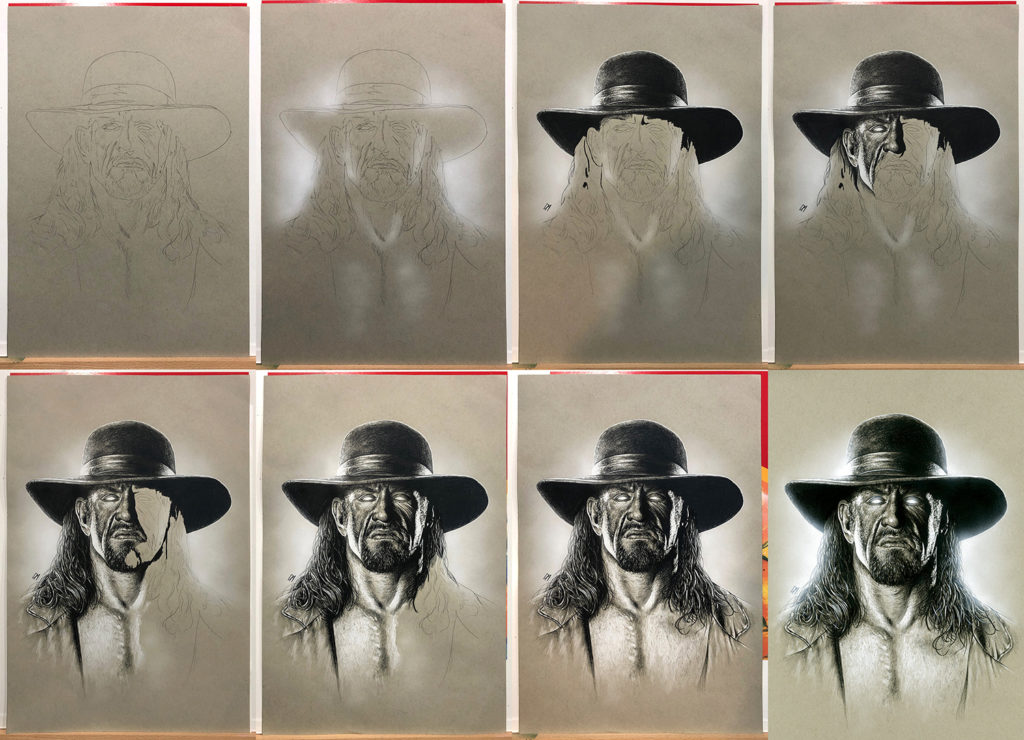 Progress of my Undertaker sketch. The original was signed at For The Love Of Wrestling and is available to purchase. If you are interested email: info@fortheloveofwrestling.co.uk. Medium: Prismacolor pencils on coloured paper. Prints available to buy at www.etsy.com/uk/shop/CraigMackayDesign. By Craig Mackay.