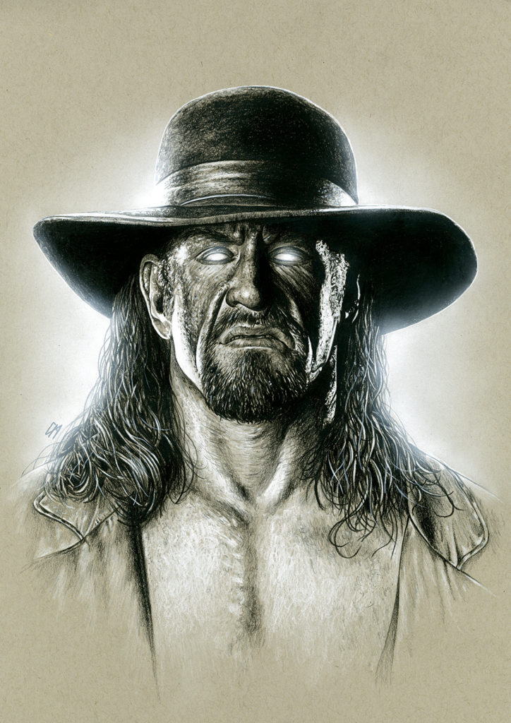 Portrait sketch of The Undertaker. The original was signed at For The Love Of Wrestling and is available to purchase. If you are interested email: info@fortheloveofwrestling.co.uk. Medium: Prismacolor pencils on coloured paper. Prints available to buy at www.etsy.com/uk/shop/CraigMackayDesign. By Craig Mackay.