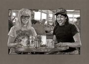 Film sketch of a scene from 'Wayne's World'. Medium: Prismacolor and Faber Castell Polychromos pencils on coloured paper. Prints available to buy at www.etsy.com/uk/shop/CraigMackayDesign. By Craig Mackay.
