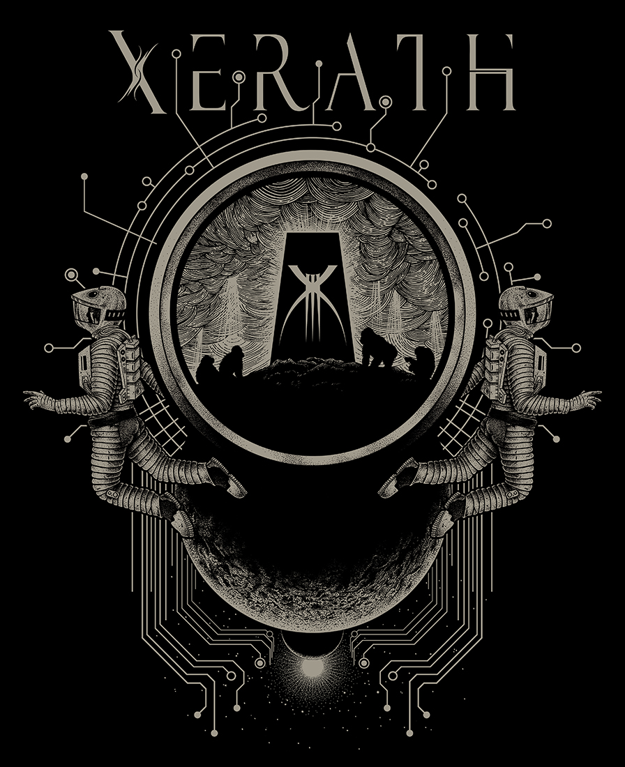 '2001' Hoodie design for the band 'Xerath'. Medium: Pen and Ink on paper and digital.